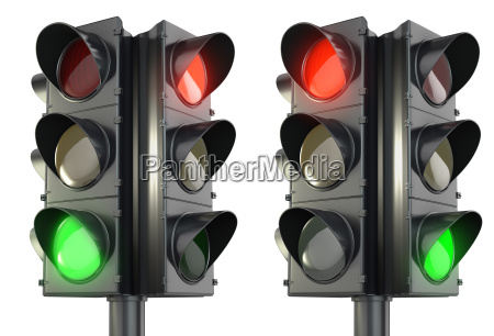 four sided traffic lightm red and