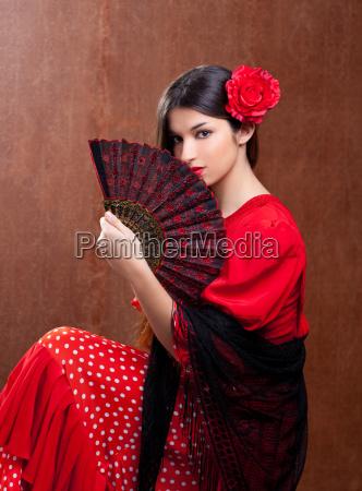flamenco taenzerin frau gipsy rote rose