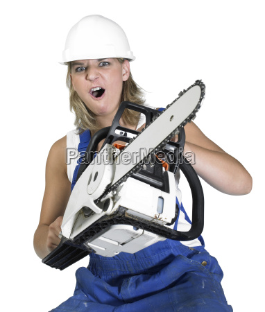aggressive chain saw girl