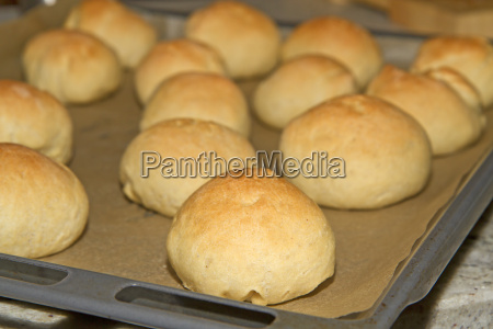 frisch gebackene olivenbroetchen auf backblech