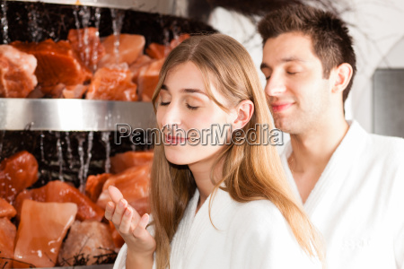 young couple in the salt cave