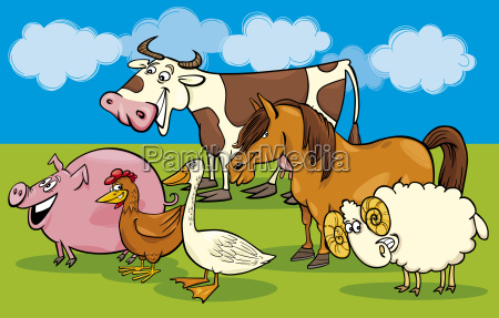 group of cartoon farm animals