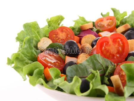 gemischter, salat, auf, weiß - 6707839