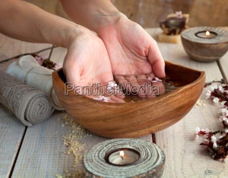 natural spa manicure setting
