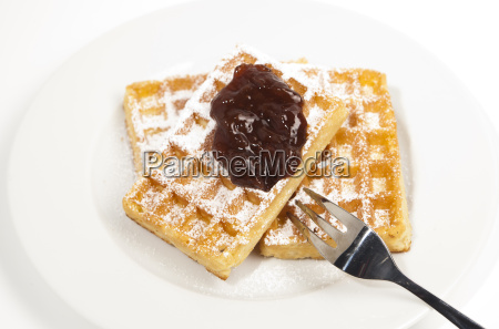 waffles with sugar and jam