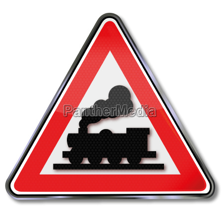 road sign railway and railroad crossing