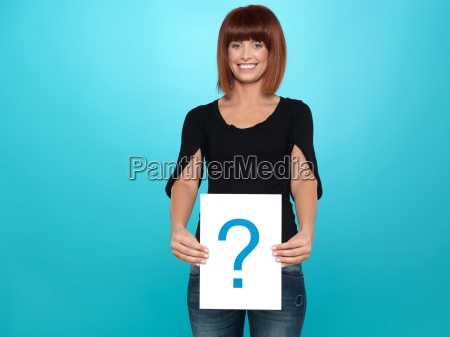 pretty young woman showing a question