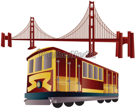san francisco cable car and golden