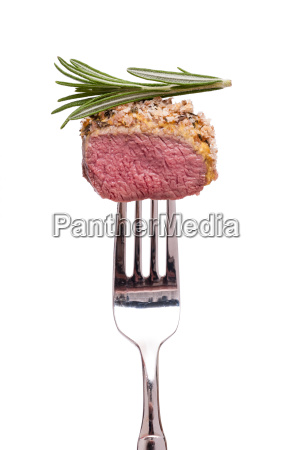 lamb with bread crust and rosemary