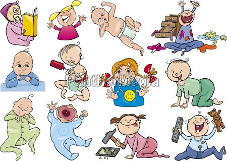 cartoon babies and children set