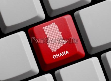 ghana umriss auf tastatur