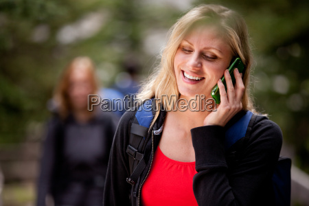 happy woman cell phone