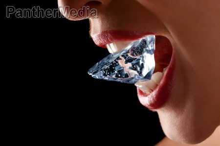 ice cube in womans mouth