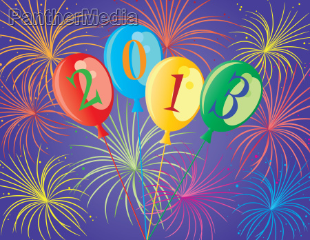 frohes neues jahr 2013 ballons illustration