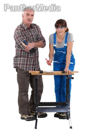 female student carpenter