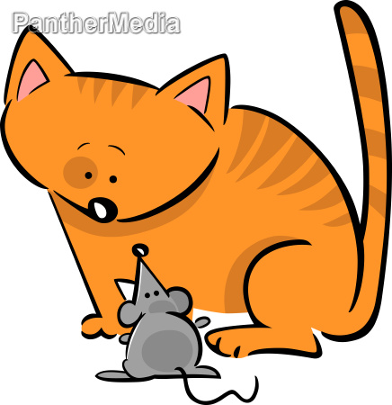 cartoon doodle of cat and mouse