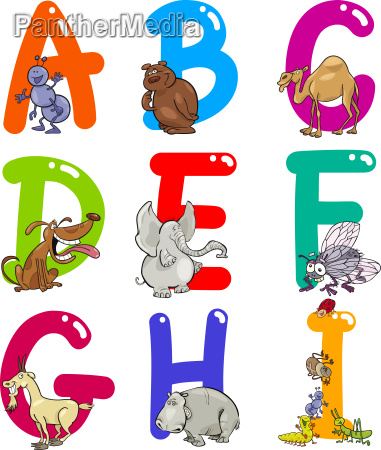 cartoon, alphabet, mit, tieren - 6900669