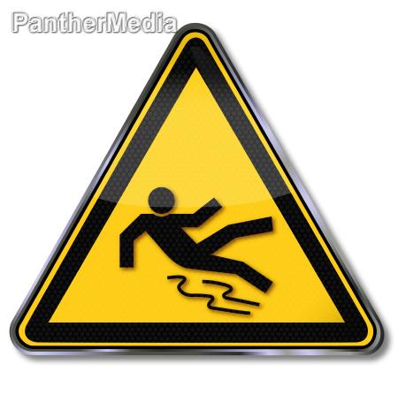 schild warnung vor rutschgefahr
