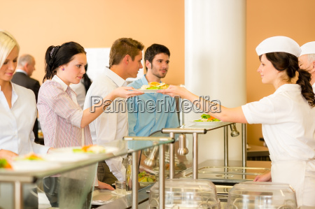 office woman in canteen lunch lady