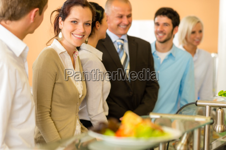 business colleagues waiting for canteen lunch