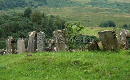 scottish scenery with graveyard