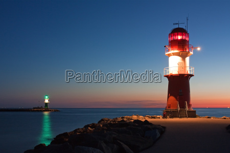 lighthouses at the harbor entrance of