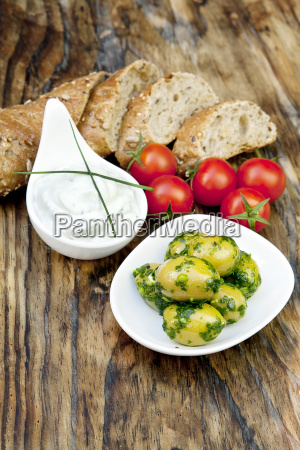 green olives with fresh bread and