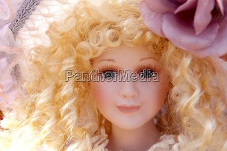 antikes altes blondes porzellanpuppegesicht protrait