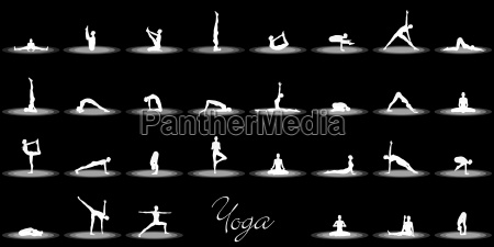 yoga posen set schwarz weiss