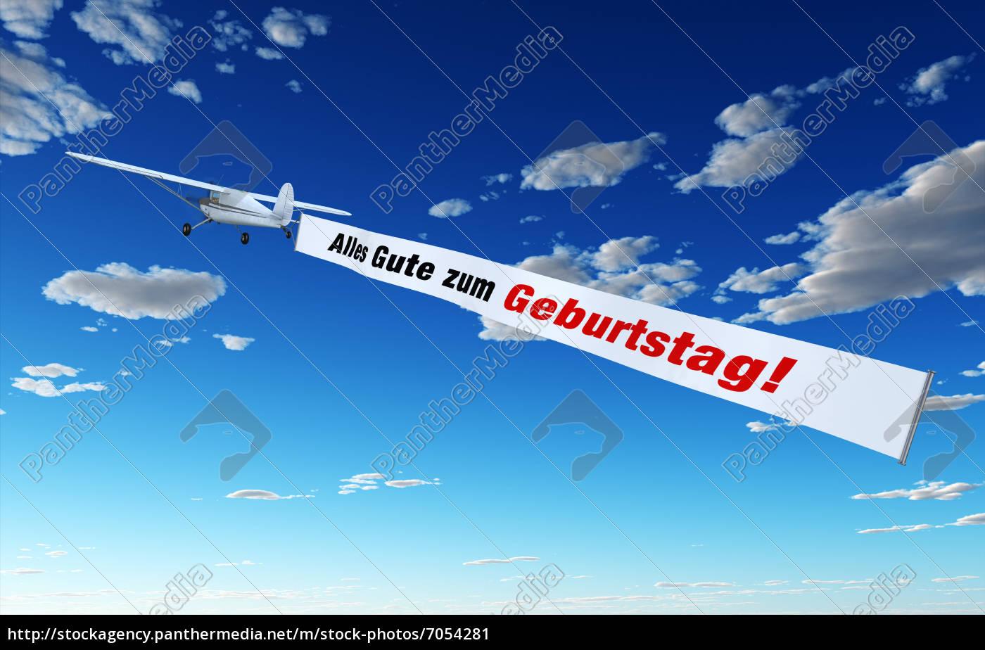 Flugzeug mit Banner - Alles Gute zum Geburtstag! - Stockfoto ...
