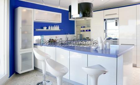 Blaue Weisse Kuche Moderne Innenarchitektur Haus