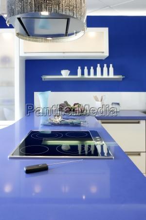 blaue weisse kueche modernes interieur design