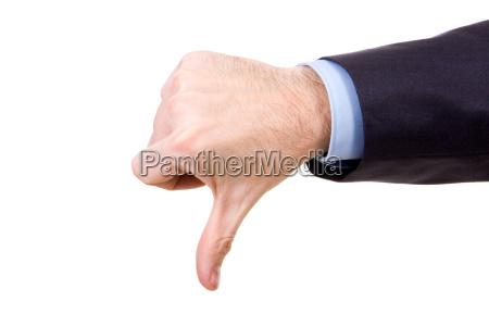 bild der menschlichen hand zeigt daumen