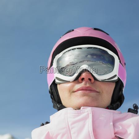 woman skier alps mountains savoie france