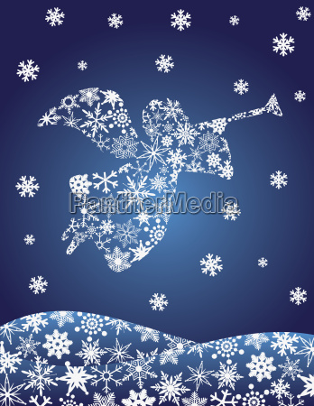 angel with trumpet silhouette with snowflakes