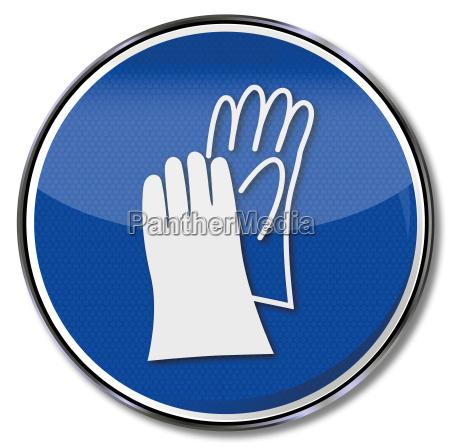 schild handschutz und handschuh