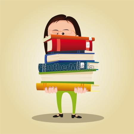cartoon librarian woman