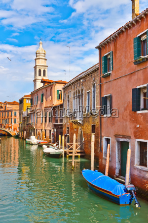canal in venice at sunny day