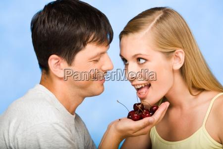sweet cherry in hand