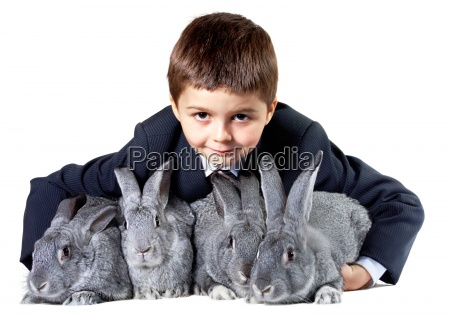 lad with rabbits