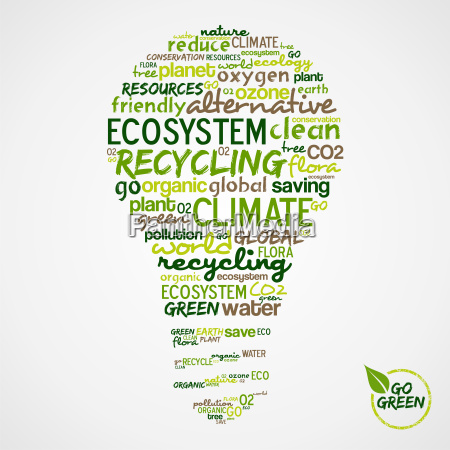 go green words cloud about environmental
