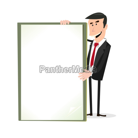 cartoon white businessman holding a blank