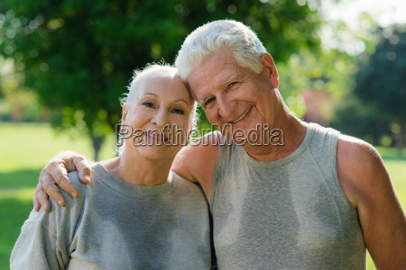 portrait of elderly couple after fitness