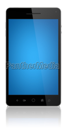 smart phone with blue screen isolated