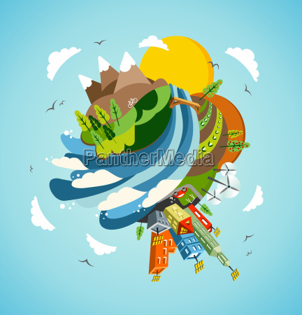 go green energy earth illustration
