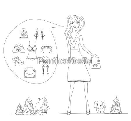 fashion shopping symbol doodle set