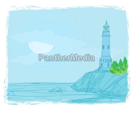 leuchtturm von einem winzigen strand gesehen
