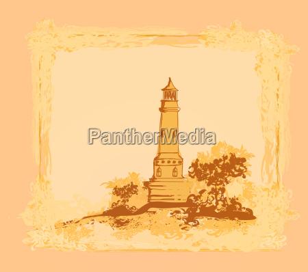 leuchtturm aus einem winzigen strand gesehen