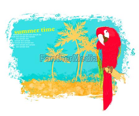 bunte papageien vogel auf der stange