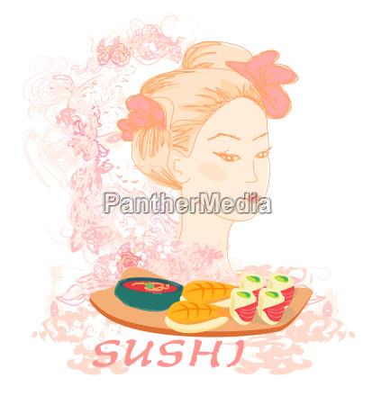 schoenes asiatisches maedchen geniessen sushi